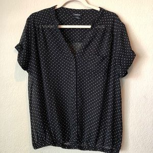 Torrid Plus Size 0 Black w Polka Dots sheer blouse
